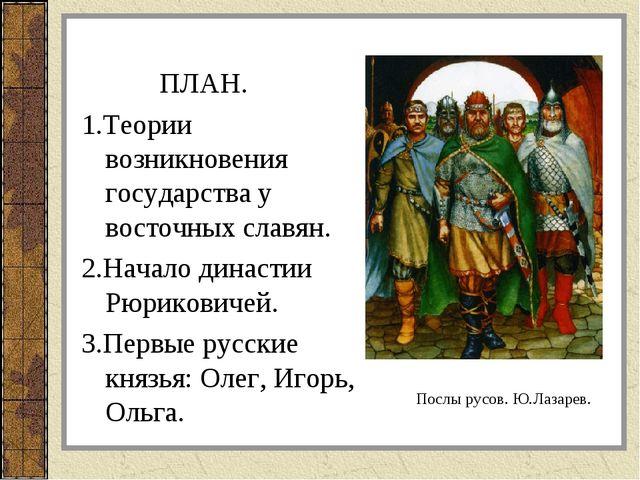 ПЛАН. 1.Теории возникновения государства у восточных славян. 2.Начало династ...