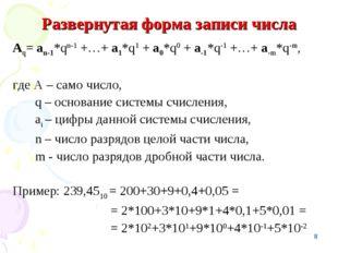 * Развернутая форма записи числа Аq= аn-1*qn-1 +…+ а1*q1 + а0*q0 + а-1*q-1 +…