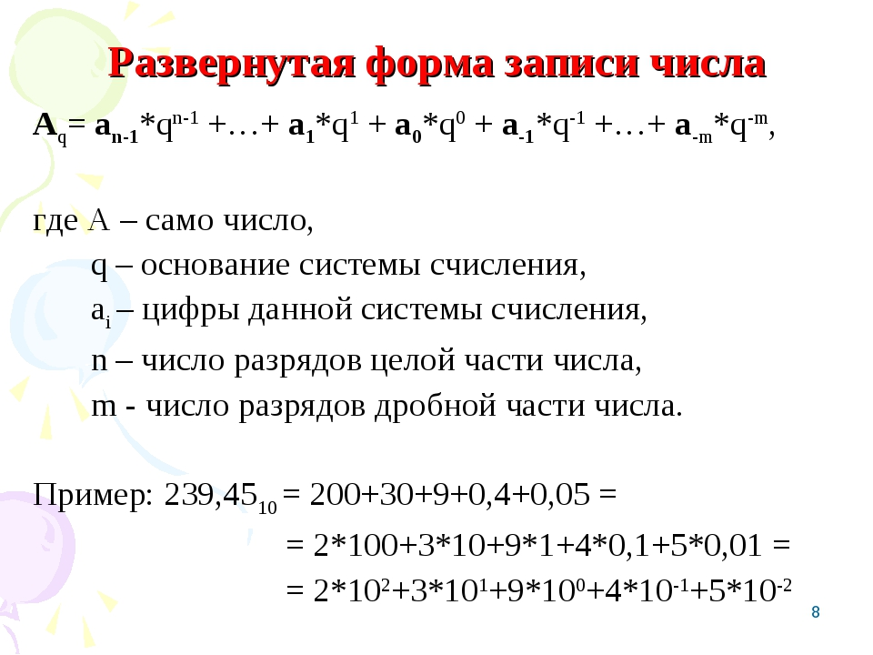 * Развернутая форма записи числа Аq= аn-1*qn-1 +…+ а1*q1 + а0*q0 + а-1*q-1 +…...