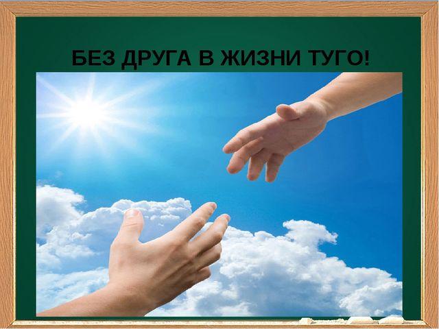 БЕЗ ДРУГА В ЖИЗНИ ТУГО!