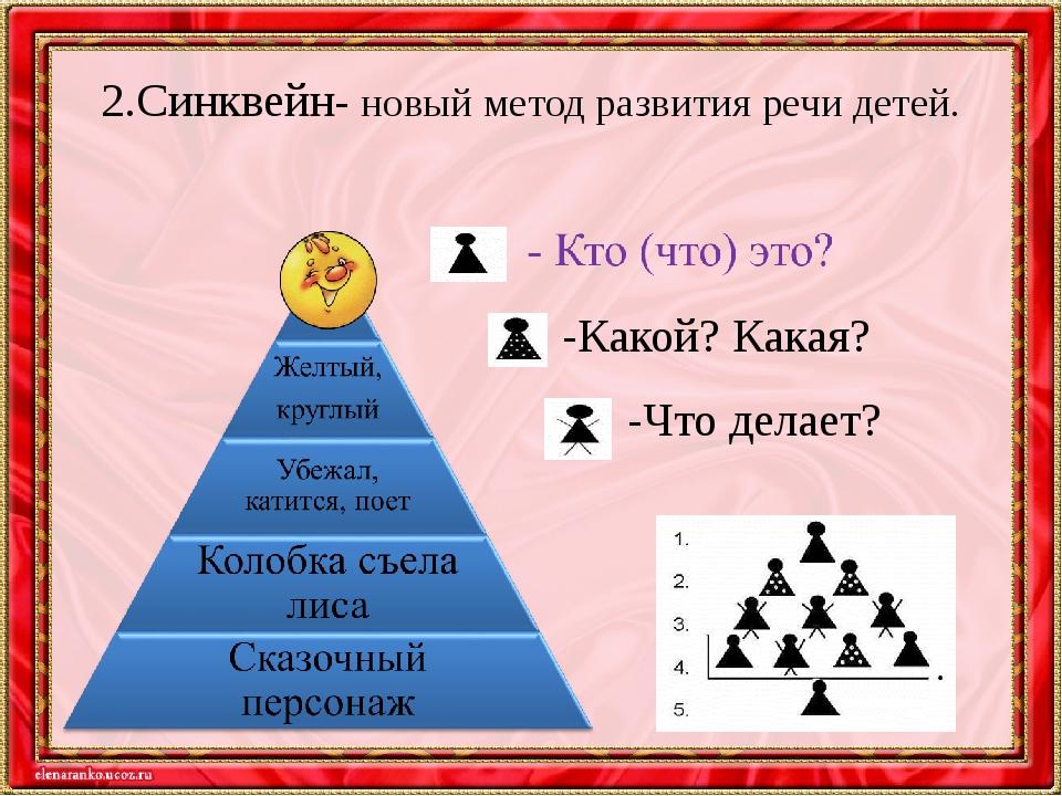 2.Синквейн- новый метод развития речи детей. -Какой? Какая? -Что делает?