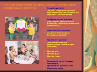 Обучение правильному дыханию, массажу и специальным гигиеническим процедурам