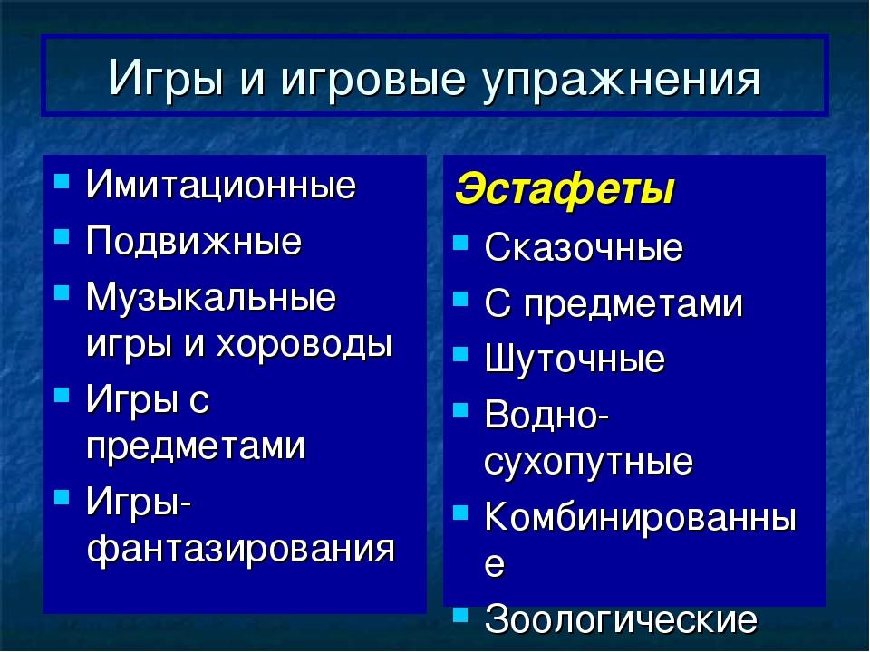 Игры и игровые упражнения Имитационные Подвижные Музыкальные игры и хороводы...