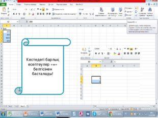 Excel-нің ерекше мүмкіндіктерінің бірі – есептеулер жүргізуге болады. -функци