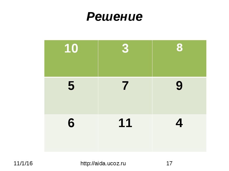 Решение http://aida.ucoz.ru 10 3 8 5 7 9 6 11 4