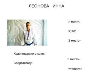 ЛЕОНОВА ИННА 2 место- Первенство ЮФО (2015г.), 3 место - Первенство Краснодар