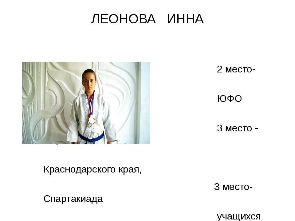 ЛЕОНОВА ИННА 2 место- Первенство ЮФО (2015г.), 3 место - Первенство Краснодар...