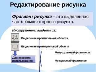 Редактирование рисунка Фрагмент рисунка – это выделенная часть компьютерного