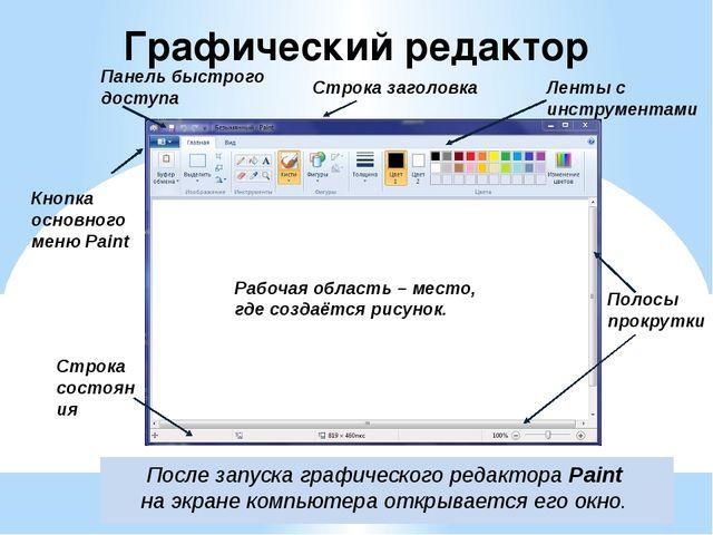 Графический редактор После запуска графического редактора Paint на экране ком...