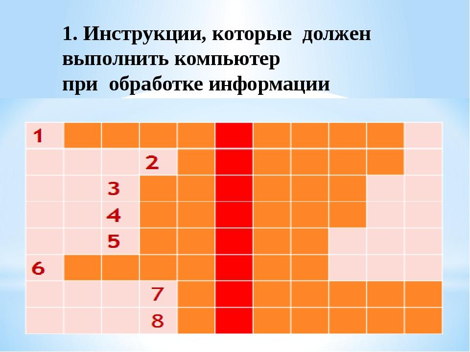 1. Инструкции, которые должен выполнить компьютер при обработке информации