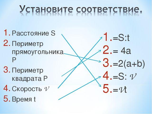 Расстояние S Периметр прямоугольника P Периметр квадрата P Скорость V Время t...