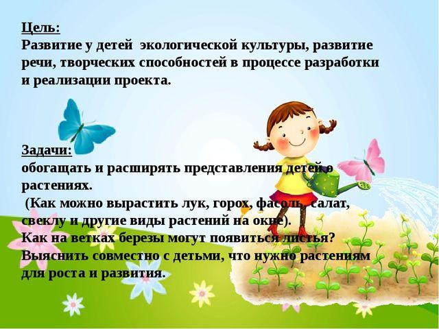 Цель: Развитие у детей экологической культуры, развитие речи, творческих спос...