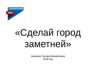 «Сделай город заметней» Шнякина Татьяна Михайловна 2016 год