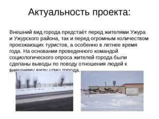 Актуальность проекта: Внешний вид города предстаёт перед жителями Ужура и Ужу