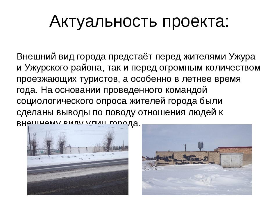 Актуальность проекта: Внешний вид города предстаёт перед жителями Ужура и Ужу...