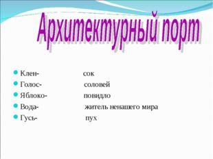 Клен- сок Голос- соловей Яблоко- повидло Вода- житель ненашего мира Гусь- пух