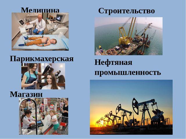 Медицина Парикмахерская Строительство Нефтяная промышленность Магазин
