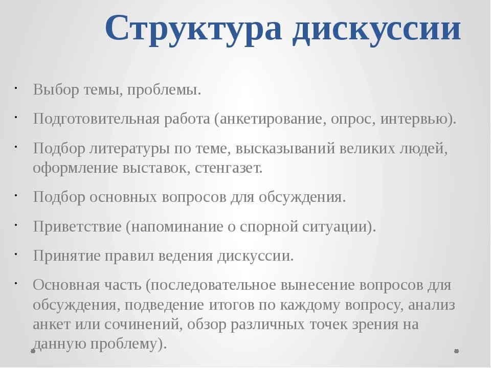 Структура дискуссии Выбор темы, проблемы.  Подготовительная работа (анкетир...