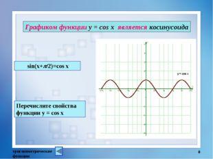 тригонометрические функции * Графиком функции у = cos x является косинусоида