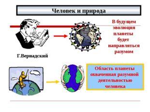 Человек и природа Г.Вернадский В будущем эволюция планеты будет направляться