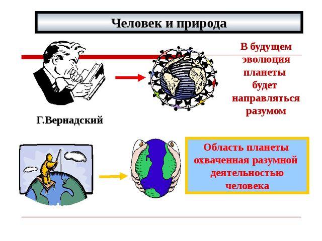 Человек и природа Г.Вернадский В будущем эволюция планеты будет направляться...