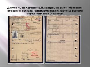 Документы на Харченко В.М. найдены на сайте «Мемориал» Все записи сделаны на