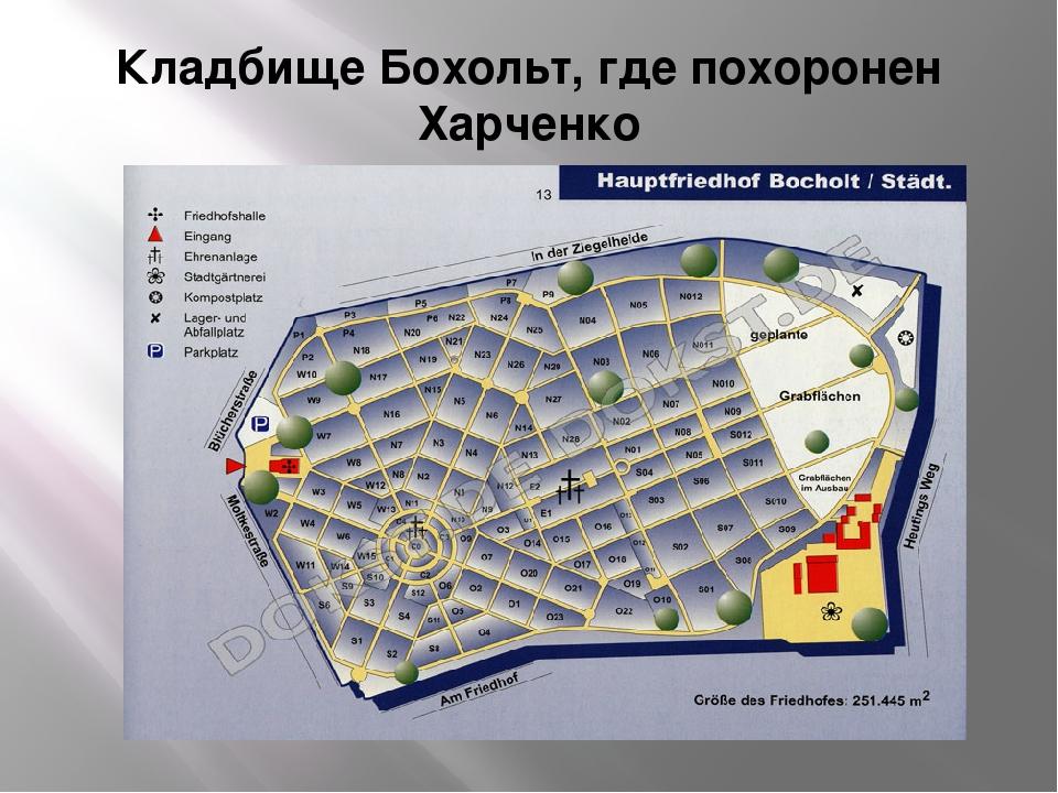 Кладбище Бохольт, где похоронен Харченко