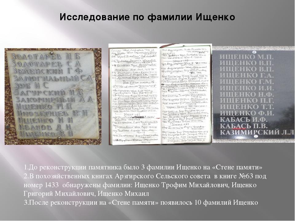 Исследование по фамилии Ищенко 1.До реконструкции памятника было 3 фамилии Ищ...
