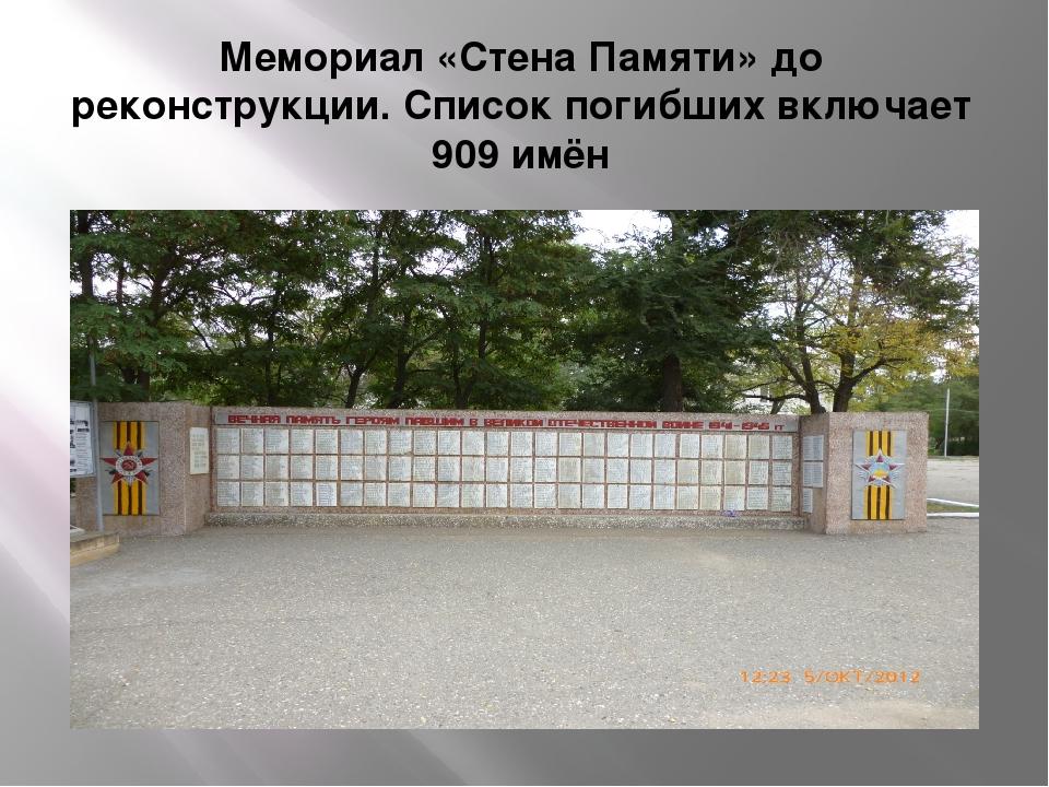 Мемориал «Стена Памяти» до реконструкции. Список погибших включает 909 имён