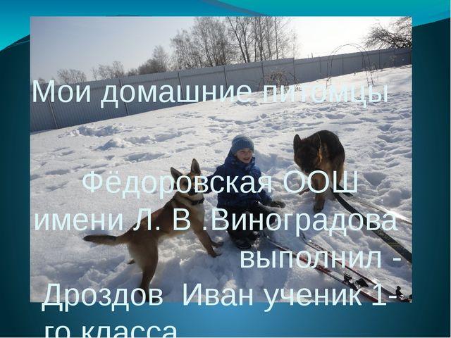 Мои домашние питомцы Фёдоровская ООШ имени Л. В .Виноградова выполнил - Дрозд...