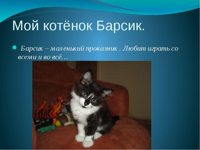 Мой котёнок Барсик. Барсик – маленький проказник . Любит играть со всеми и во...