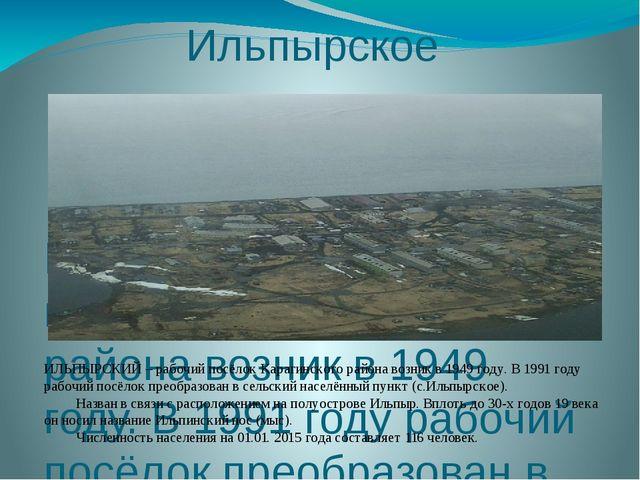 Ильпырское ИЛЬПЫРСКИЙ – рабочий посёлок Карагинского района возник в 1949 год...