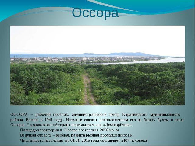 Оссора ОССОРА – рабочий посёлок, административный центр Карагинского муниципа...