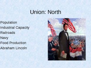 Union: North Population Industrial Capacity Railroads Navy Food Production Ab