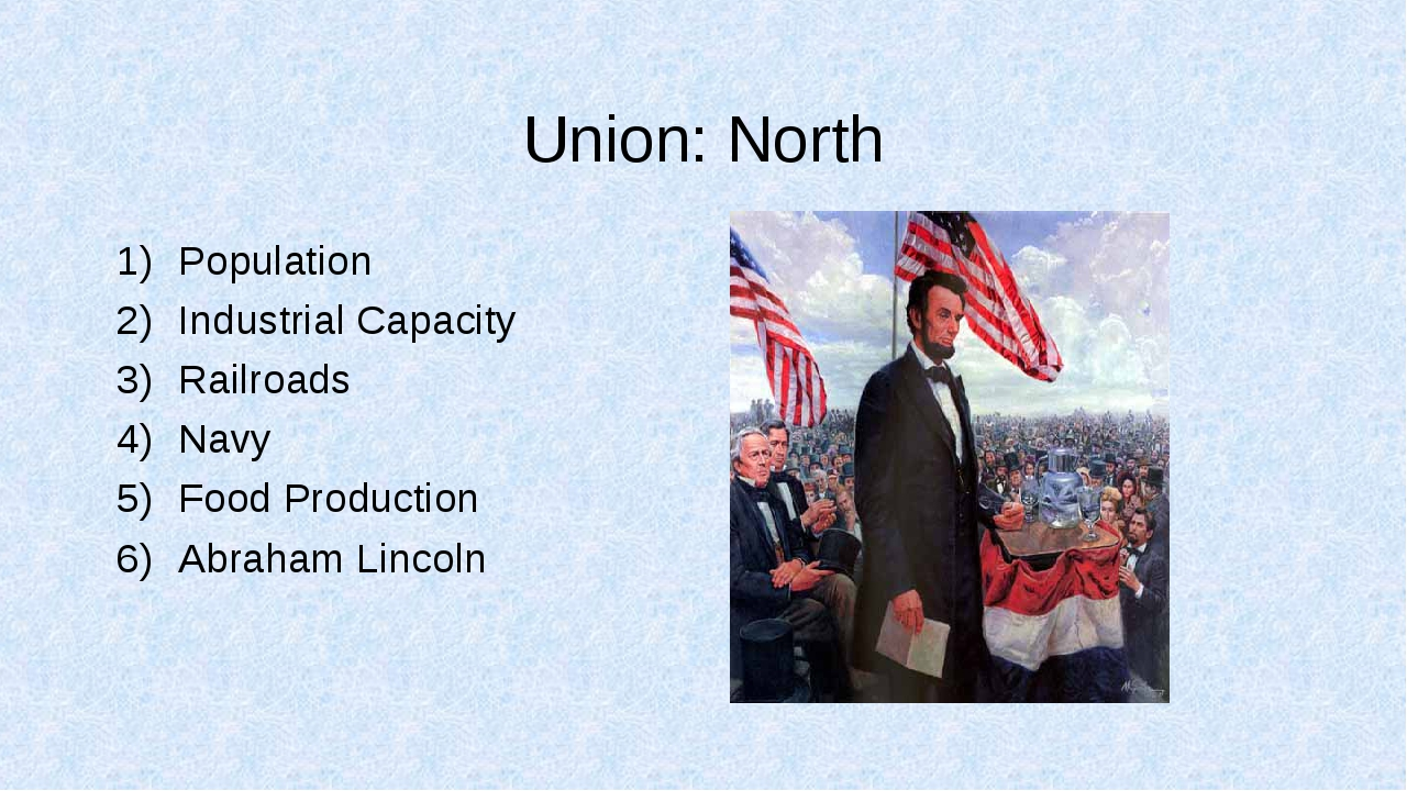 Union: North Population Industrial Capacity Railroads Navy Food Production Ab...