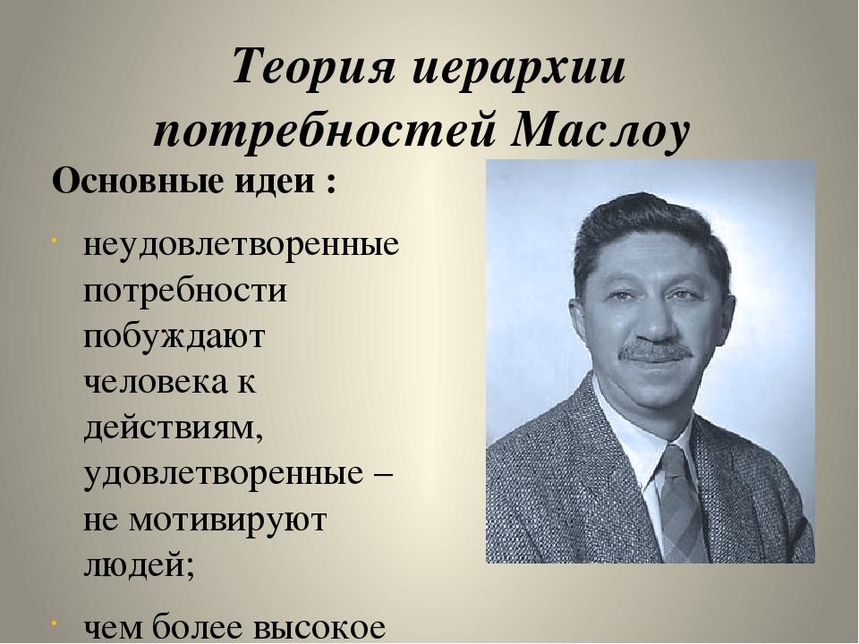 Теория иерархии потребностей Маслоу  Основные идеи : неудовлетворенные потр...