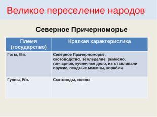 Великое переселение народов Северное Причерноморье Племя (государство)Кратка