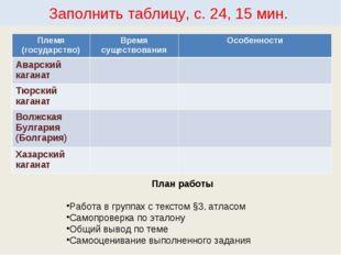 Заполнить таблицу, с. 24, 15 мин. План работы Работа в группах с текстом §3,