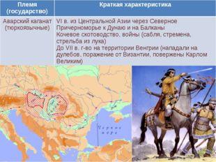 Племя (государство)Краткая характеристика Аварский каганат (тюркоязычные) V