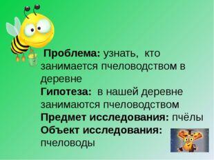 Проблема: узнать, кто занимается пчеловодством в деревне Гипотеза: в нашей д