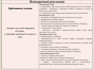 Планируемыйрезультат Предметные умения -знания о русском народном костюме, оз