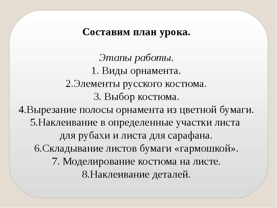 Составим план урока. Этапы работы. 1. Виды орнамента. 2.Элементы русского ко...