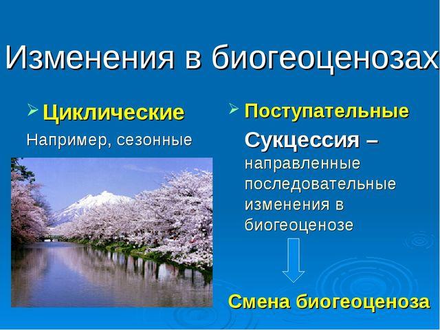 Изменения в биогеоценозах Циклические Например, сезонные Поступательные Сукц...