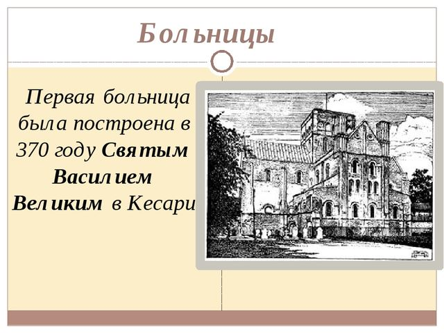 Больницы Первая больница была построена в 370 году Святым Василием Великим в...