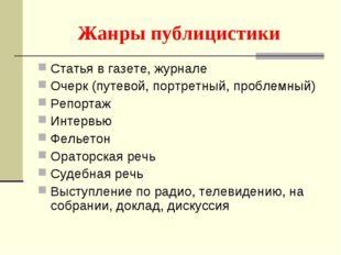 Жанры публицистики Статья в газете, журнале Очерк (путевой, портретный, пробл