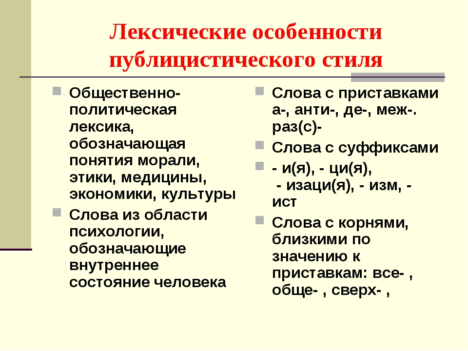 Лексические особенности публицистического стиля Общественно-политическая лекс...