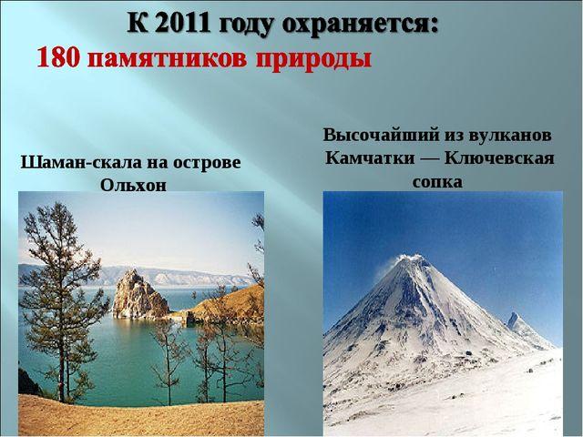 Шаман-скала на острове Ольхон Высочайший из вулканов Камчатки— Ключевская со...