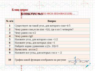 №п/п Вопрос 1 Существует ли такой угол, для которогоcosα=4/5 2 Чему равенcos