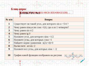 №п/п Вопрос 1 Существует ли такой угол, для которогоsinα=5/4 ? 2 Чему равенs