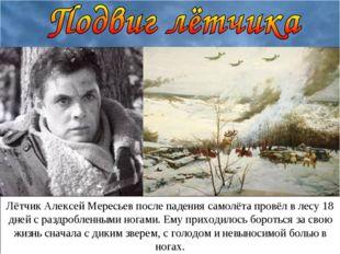 Лётчик Алексей Мересьев после падения самолёта провёл в лесу 18 дней с раздро